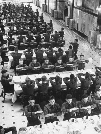 Students in Mess Hall at Culver Military Academy Holding Arms Crossed in Front of Them by Alfred Eisenstaedt