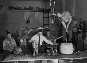 Technicians in Sound Production Room at Walt Disney Studio Using Hanging Mikes and Handheld Boom by Alfred Eisenstaedt