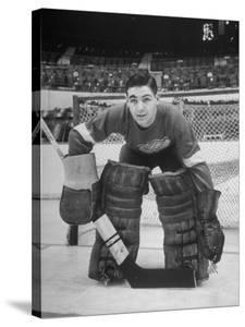 Terry Sawchuck, Star Goalie for the Detroit Red Wings, Posing in Front of Goal at Ice Arena by Alfred Eisenstaedt