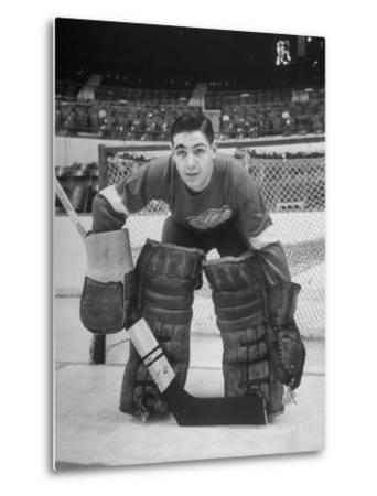 Terry Sawchuck, Star Goalie for the Detroit Red Wings, Posing in Front of Goal at Ice Arena