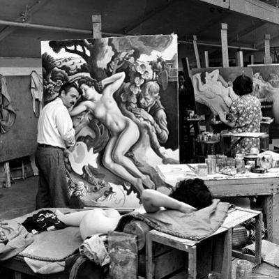 """Thomas Hart Benton Working on His Painting """"Rape of Persephone"""" in His Studio Using Live Nude Model by Alfred Eisenstaedt"""