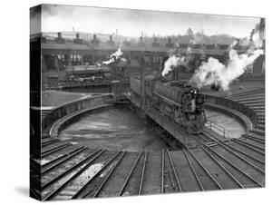 Train Engine on Turntable at Union Station roundhouse used to enable engines to enter by Alfred Eisenstaedt