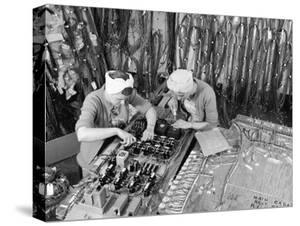 Two Women Wiring Cable Board For 10 KW Broadcast Transmitter at General Electric Plant by Alfred Eisenstaedt