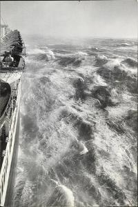 View From Side of Ocean Liner Queen Elizabeth While Crossing the Atlantic by Alfred Eisenstaedt