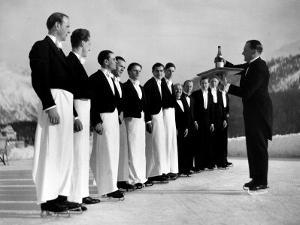 Waiters in Ice Skates Learning How to Serve Cocktails During Lesson at Grand Hotel Ice Rink by Alfred Eisenstaedt