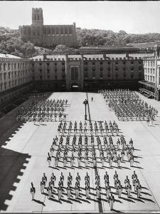 West Point Cadets Standing at Parade Rest in Courtyard of the West Point Military Academy by Alfred Eisenstaedt