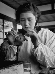 Young Woman Inserting Mother-Of-Pearl Bead into Live Oyster at Pearl Factory by Alfred Eisenstaedt