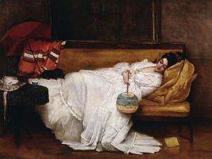 A Girl with a Japanese Fan Asleep on a Sofa by Alfred Emile Léopold Stevens