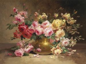 Rich Still Life of Pink and Yellow Roses by Alfred Godchaux