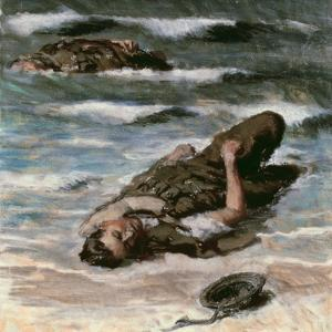 Casualty on the Beach at Dieppe, 1945 by Alfred Hierl
