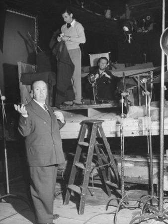 """Alfred HitchcockOn Film Set During Shooting of """"Lifeboat"""""""