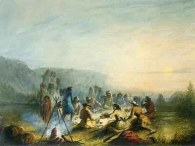 American Indians at Sunrise Breakfast by Alfred Jacob Miller