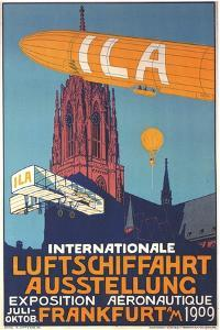 International Air Travel Exhibition Above The Frankfurt Cathedral by Alfred Nathaniel Oppenheim