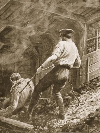 Lance-Corporal Clapson Dragging an Officer, Who Had Been Gassed, Out of a Mine (Litho)