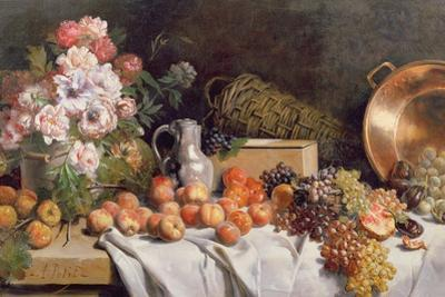 Still Life with Flowers and Fruit on a Table by Alfred Petit