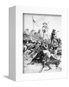Illustration of the Battle of Little Bighorn, 25th June, 1876 (Litho) by Alfred R. Waud