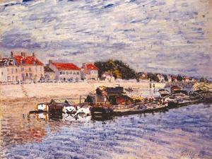 Barges on the Loing at Saint-Mammès, 1885 by Alfred Sisley