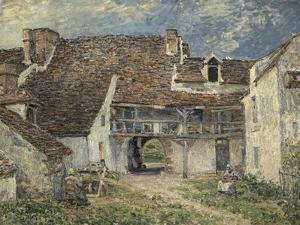 Cour de ferme à Saint Mammès (Seine et Marne) by Alfred Sisley