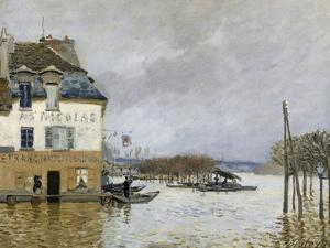 La barque pendant l'inondation à Port-Marly by Alfred Sisley