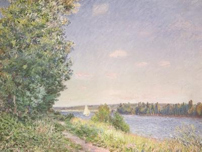 Normandy, the Water Path in the Evening, Sahurs, 1894 by Alfred Sisley
