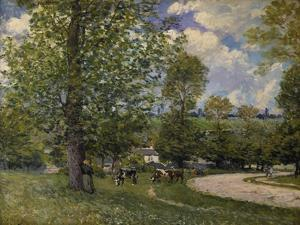 Pasture Ground with Cows Near Louveciennes, 1874 by Alfred Sisley
