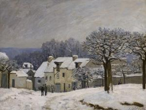 Place du Chenil à Marly, effet de neige by Alfred Sisley