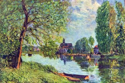 River Landscape at Moret-Sur-Loing by Alfred Sisley