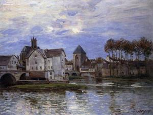 The Bridge of Moret with Sunset by Alfred Sisley