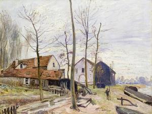 The Mills of Moret, with Rising Sun by Alfred Sisley
