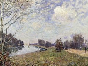 The Thames at Hampton Court, East Molesey by Alfred Sisley
