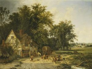 Playing Football Outside the Gun Inn by Alfred Walter Williams