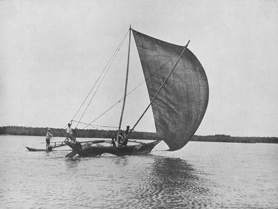 'Outrigger Canoe in Full Sail on Negombo Lake', c1890, (1910)