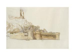 Mont St Michel: the Walls and Bastions, C. 1876 (Watercolour over Graphite on Paper) by Alfred William Hunt
