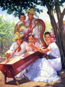 Harpist and Fans by Alfredo Gonzalez