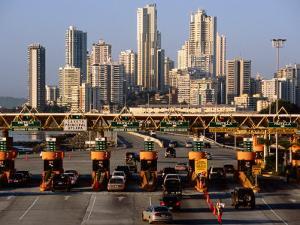 Freeway Toll Gates and Paitilla Skyline, Panama City, Panama by Alfredo Maiquez