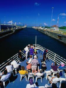 Overhead View of Boat Cruising Through the Gatun Lock, Panama Canal, Panama City, Panama by Alfredo Maiquez