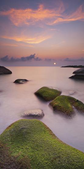 Algae Covered Rocks at the Thong Reng Beach, Sunrise, Koh Phangan Island, Thailand-Rainer Mirau-Photographic Print