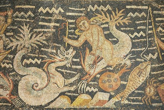 Algeria, Djemila, Detail of Boy Riding a Dolphin in Mosaic Work Depicting Venus at Her Toilet--Giclee Print