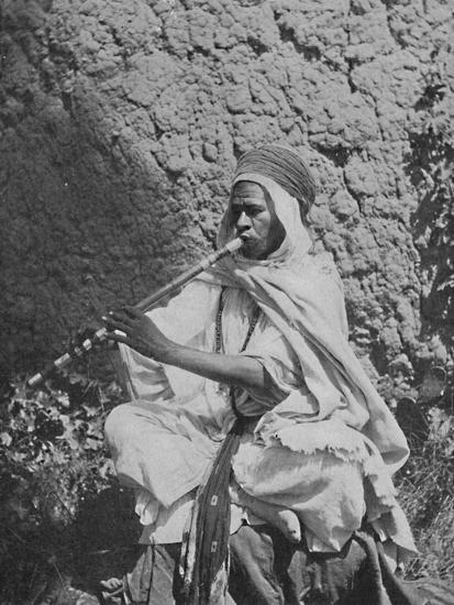 Algerian native flute player, 1912-Unknown-Photographic Print