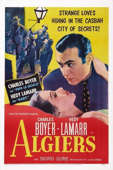Algiers, from Left: Hedy Lamarr, Charles Boyer, 1938--Art Print