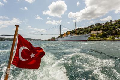 Ataturk's Yacht Savarona, Turkish Flag and Bridge, Istanbul, Turkey