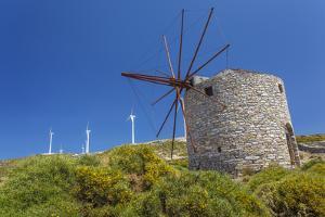 Old Windmill and Modern Wind Turbines. Naxos Island, Greece by Ali Kabas
