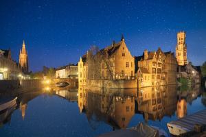 Europe, Belgium, Brugge - Rozenhoedkaai Under The Stars by Aliaume Chapelle
