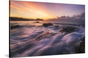 Europe, France, Brittany - Waves Crashing On The Rocks Of The Brittain Coastline During Sunset by Aliaume Chapelle