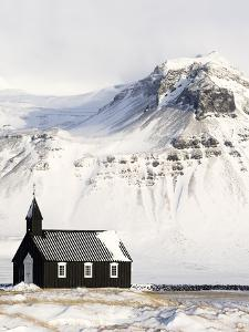 Europe, Iceland, Budir - The Famous Black Church Of Budir Facing A Mountain by Aliaume Chapelle