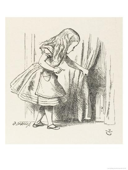 Alice Alice Draws Back the Curtain to Reveal a Little Door-John Tenniel-Premium Giclee Print