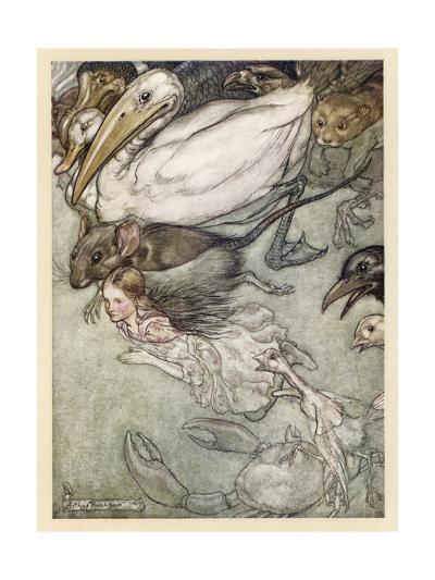 Alice and Pool of Tears-Arthur Rackham-Giclee Print