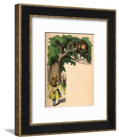 'Alice and the Cheshire Cat', 1889-John Tenniel-Framed Giclee Print