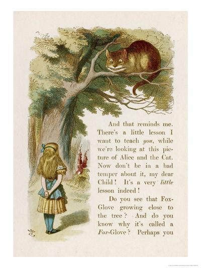 Alice and the Cheshire Cat-John Tenniel-Giclee Print