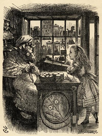Alice and the Knitting Sheep, Illustration from 'Through the Looking Glass' by Lewis Carroll…-John Tenniel-Giclee Print
